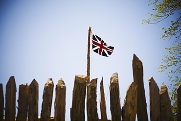 The British flag flying over James Fort in Historic Jamestown, Virginia, USA