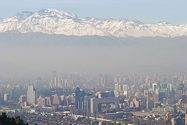 City skyline, with Andes Mountains behind, Santiago, Chile