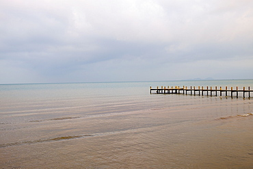 View of sea and pier, Kep, Cambodia