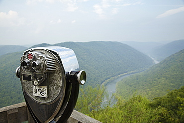 Coin operated binoculars on viewing platform, New River Gorge National River, Fayetteville, West Virginia, USA