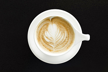 Coffee, latte, overhead view, close-up