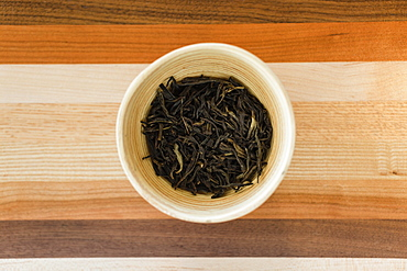Loose leaf tea, overhead view, close-up