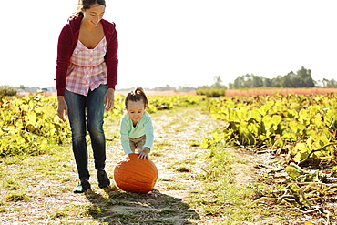 Mother and daughter in pumpkin field