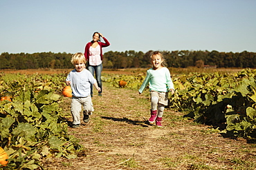 Mother with two children in pumpkin field