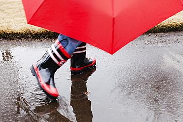 Wellingtons and umbrella