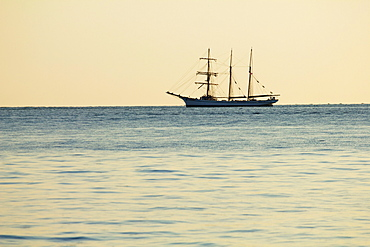 Tall ship sailing on ocean