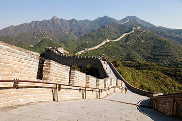 Great Wall of China in hilly landscape