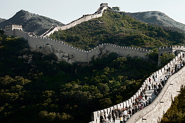 Great Wall of China in hilly landscape, Beijing, China