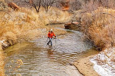 USA, Utah, Escalante, Woman wading across Escalante River in Grand Staircase-Escalante National Monument