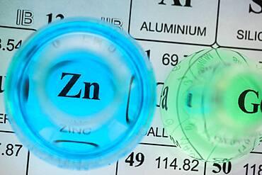 Laboratory glassware with liquids on periodic table - 1178-31740