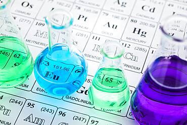 Laboratory glassware with liquids on periodic table