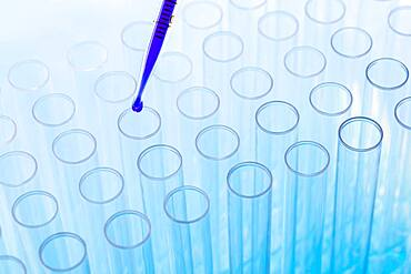 Blue liquid in pipette and test tubes