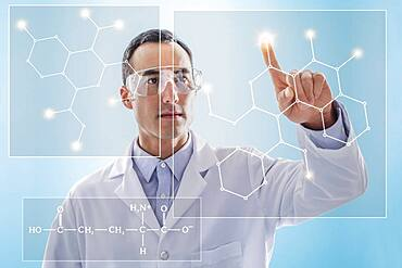 Scientist using virtual screen for chemical research