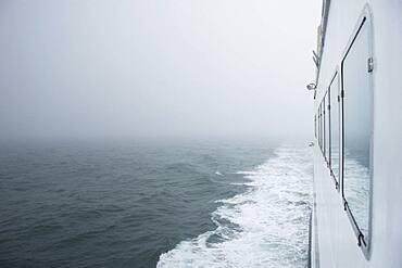 USA, Massachusetts, Cape Cod, Nantucket, Close-up of ferry crossing Nantucket Sound