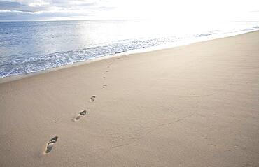 USA, Massachusetts, Cape Cod, Nantucket Island, Footprints on empty beach