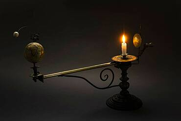 Antique globe and candle solar system model - 1178-31813