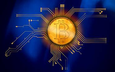Bitcoin at circuit board, cgi