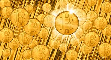 Golden bitcoins, cgi