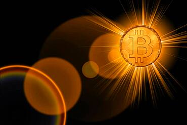 Golden glowing bitcoin, cgi