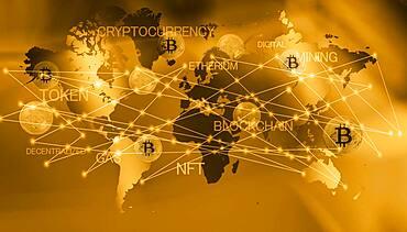 World map with bitcoins, cgi