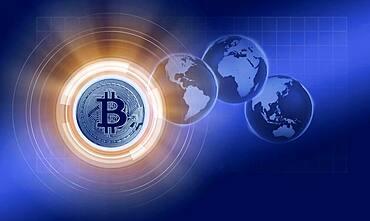 Bitcoin and globes, cgi