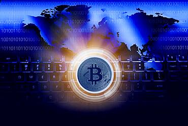 Bitcoin against World map and computer keyboard, cgi