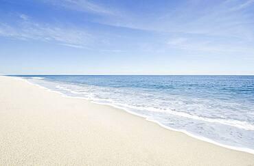 Massachusetts, Cape Cod, Nantucket Island, Calm beach and ocean wave