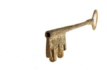 Studio shot of antique key