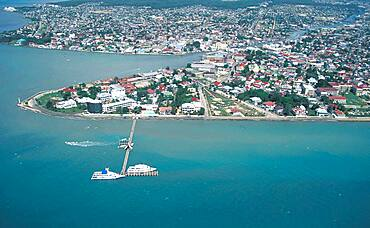 Belize, Belize City, Aerial view of coastal city and sea