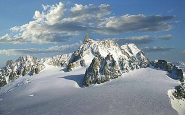 France, Chamonix, Mont Blanc, Dent du Gant peak in the Mont Blanc Massif covered with snow