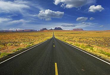 Arizona, Monument Valley Tribal Park, Empty road in desert leading to Monument Valley