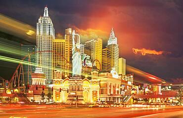 USA, Nevada, Las Vegas, Casinos and hotels illuminated at night