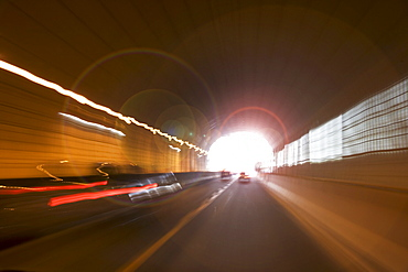 Traffic in highway tunnel