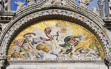 The Resurrection Byzantine mosaic on St Mark's Basilica Venice Italy