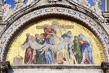 The Deposition from the Cross Byzantine mosaic Saint Mark's Basilica Venice Italy