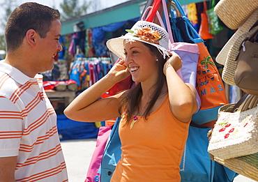 Tourist couple at market