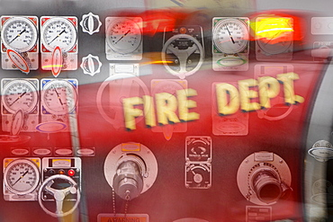 Control gauges on firetruck