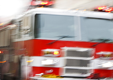Front of fire engine in motion