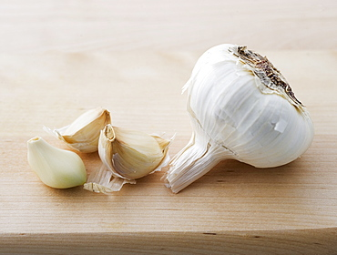 Closeup of garlic head and cloves