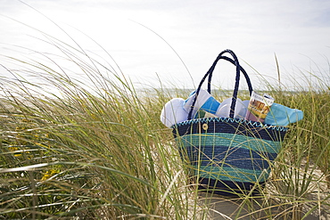 Beach bag packed for day at beach