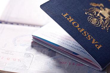Close-up of passport