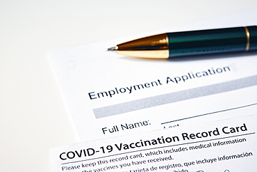 Vaccination card and job application