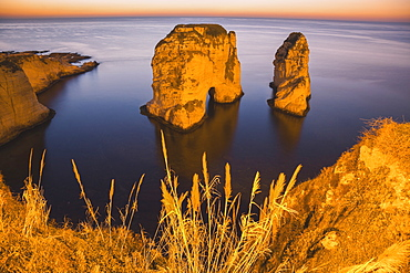 Lebanon, Beirut, Rock formations in sea