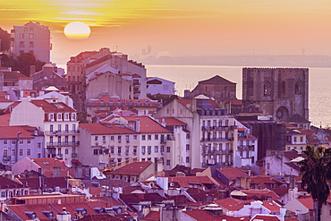 Portugal, Lisbon, Town buildings at sunrise