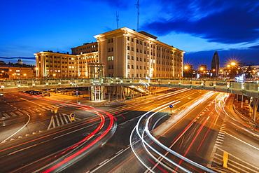 Poland, Subcarpathia, Rzeszow, Evening traffic in city