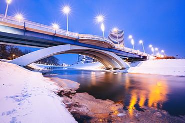 Poland, Subcarpathia, Rzeszow, Illuminated bridge in winter