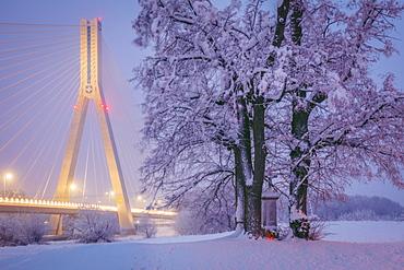 Poland, Subcarpathia, Rzeszow, Suspension bridge at night in winter