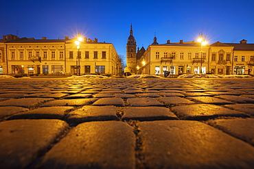 Poland, Lesser Poland, Nowy Sacz, Cobblestone on town square