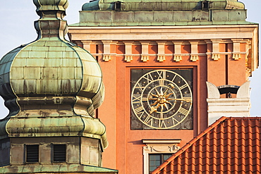 Poland, Masovia, Warsaw, Clock face on castle tower in old town