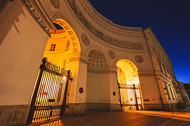 Poland, Masovia, Warsaw, Illuminated historical buildings at night